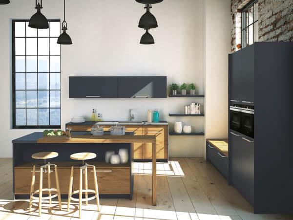 Küche Eiche schwarz